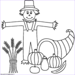 Scarecrow Coloring Page Awesome Image Horn Of Plenty With Scarecrow Coloring Page Thanksgiving