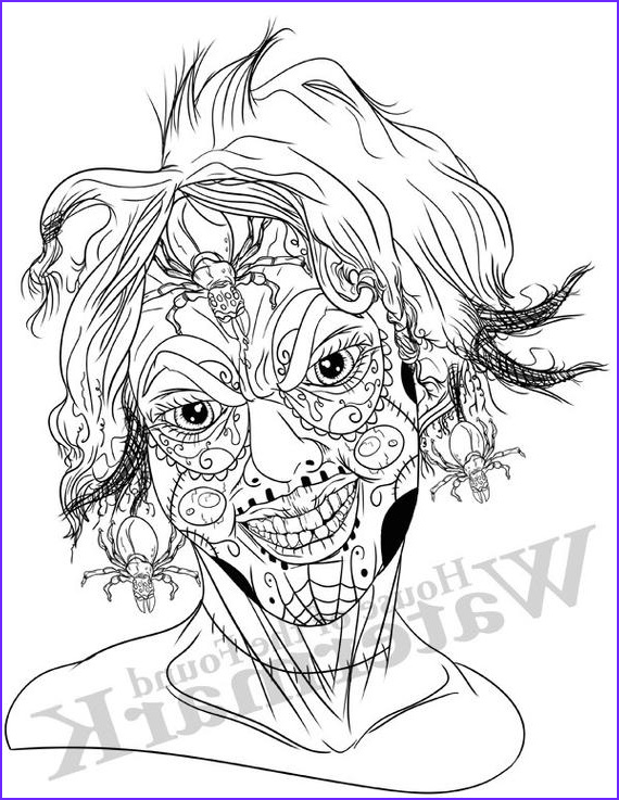 pin up coloring creepy coloring relax