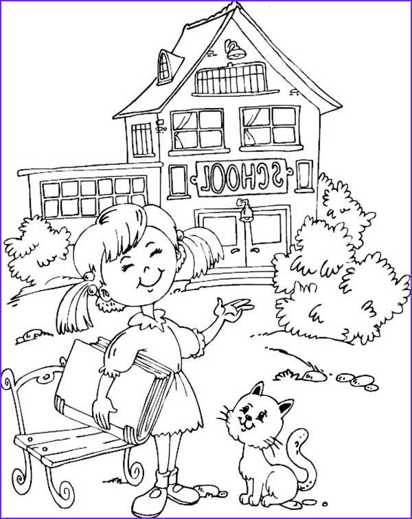 School House Coloring Pages Beautiful Collection Little Want to Learn at School House Coloring Page