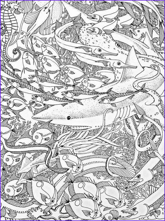 Sea Life Coloring Books Unique Collection Vintage Sealife Poster to Color Nautical by