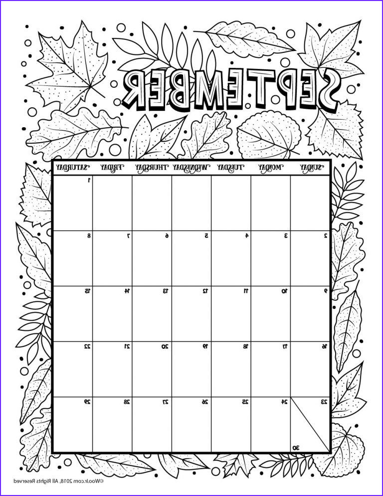 September Coloring Pages Best Of Image September 2018 Coloring Calendar Page Board