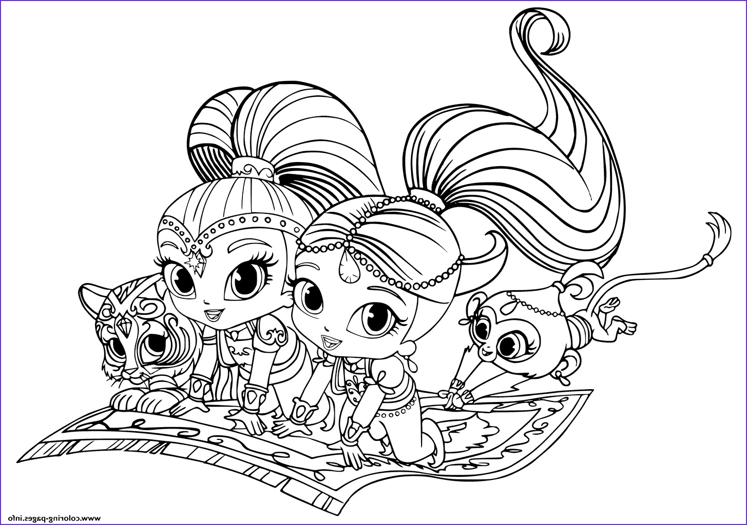 shimmer and shine pets printable coloring pages book