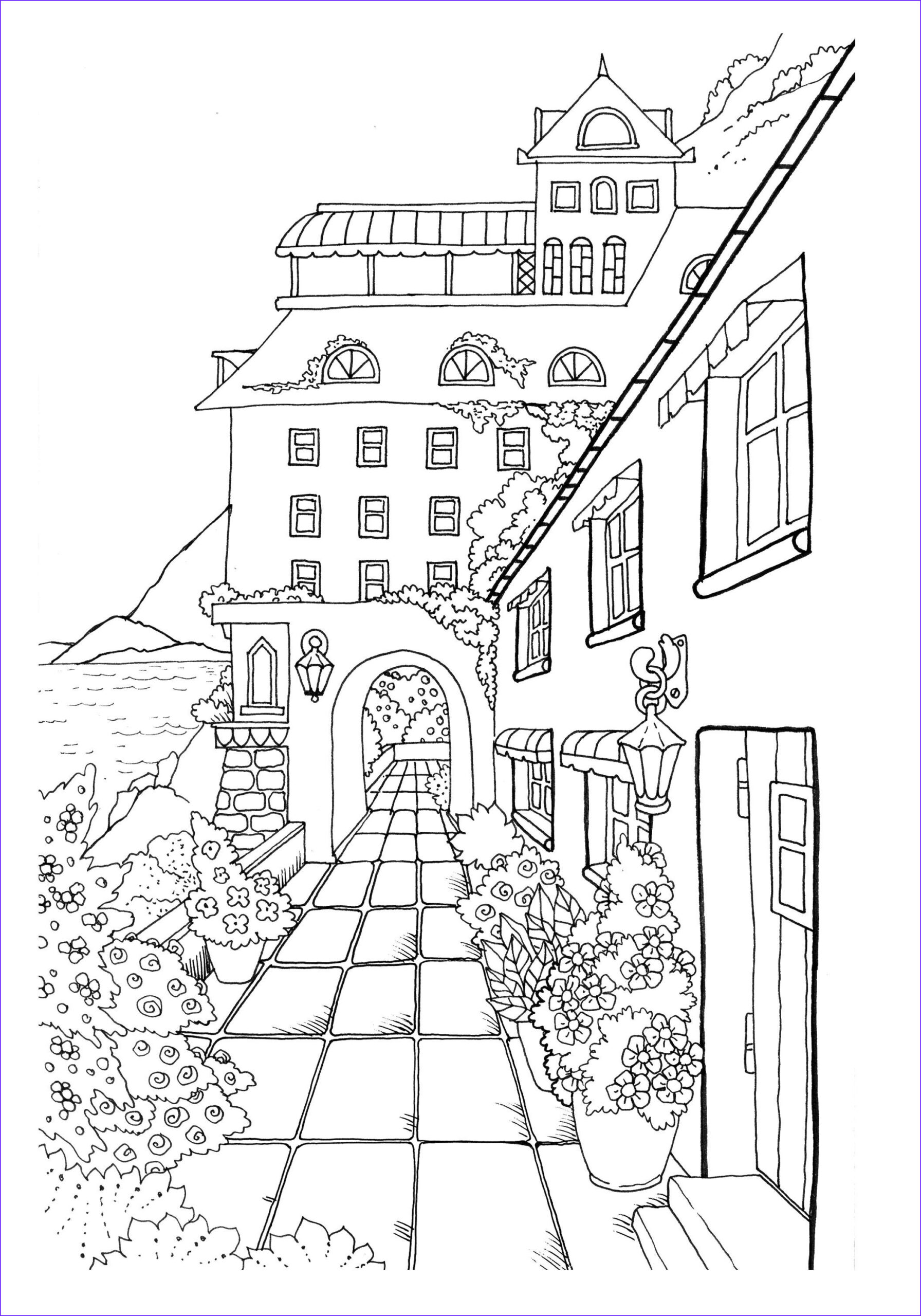 Small Adult Coloring Books Awesome Gallery Nice Little town 2 Adult Coloring Book Digital Pages