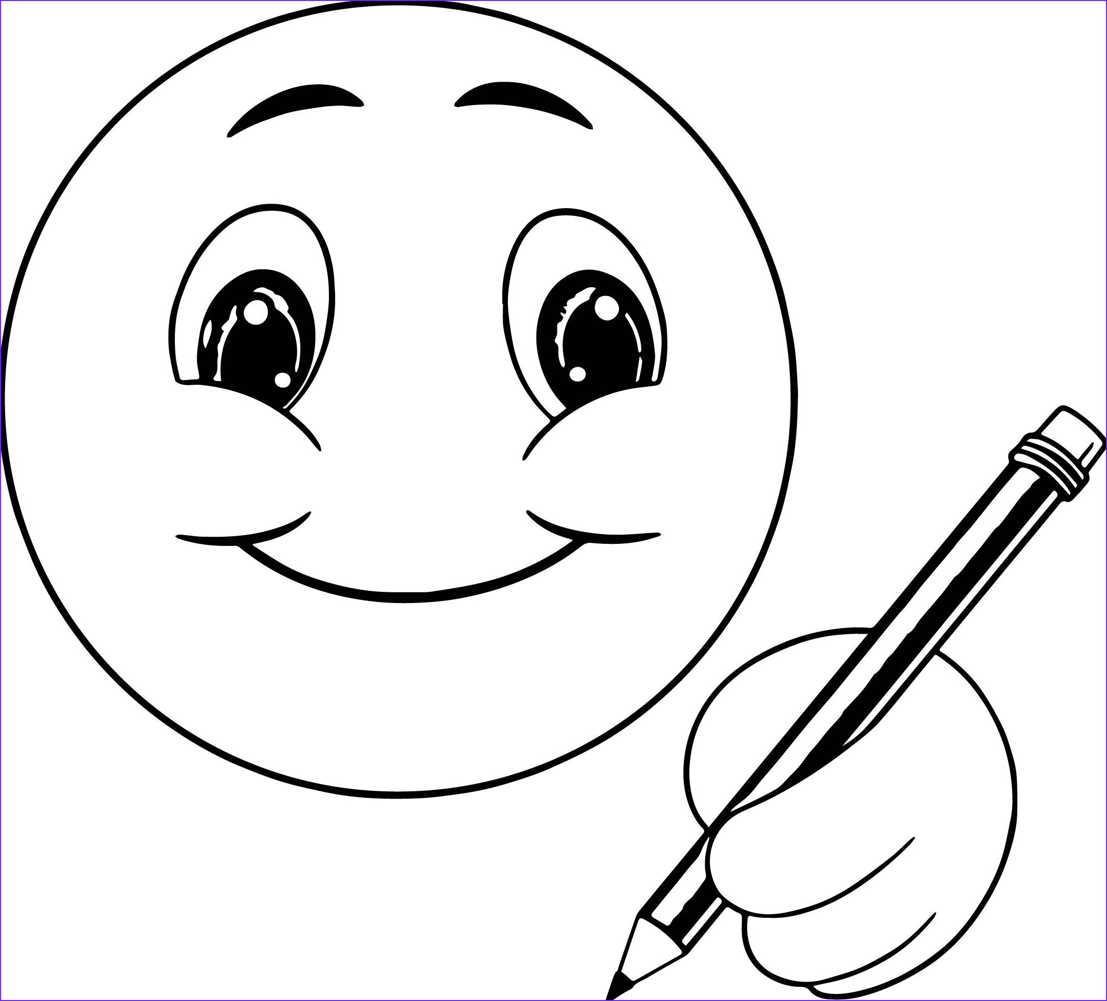 cute smile emoticon icons writing face coloring page