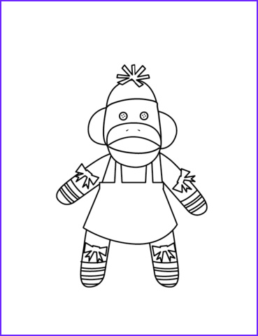 Sock Monkey Coloring Pages Awesome Stock Mrs sock Monkey Coloring Page