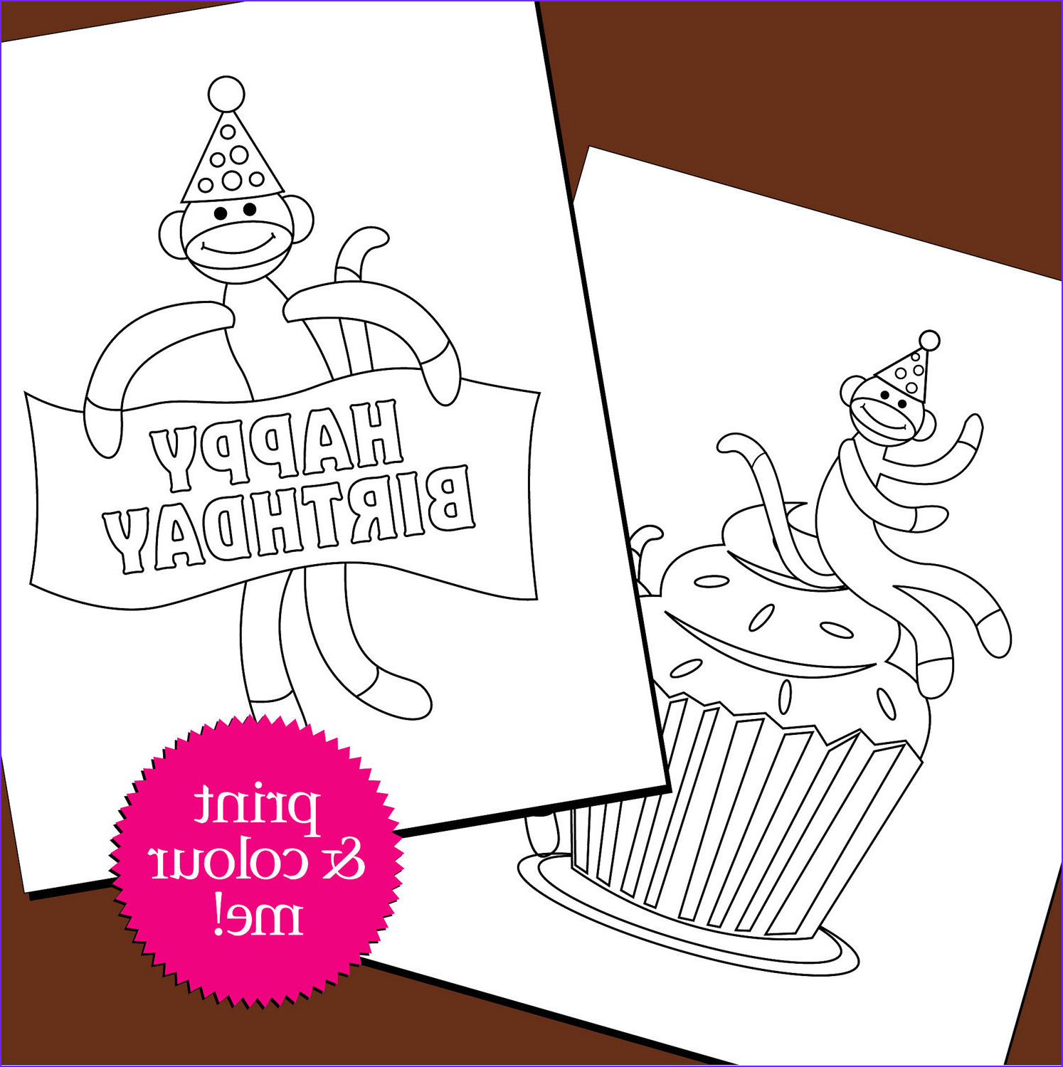 colouring pages birthday sock monkey