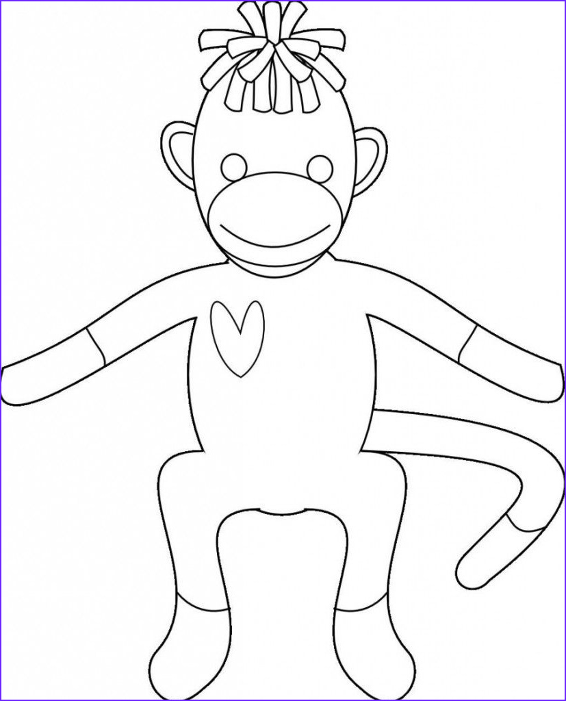 Sock Monkey Coloring Pages Elegant Image Free Monkey sock Coloring Pages to Print Out Enjoy