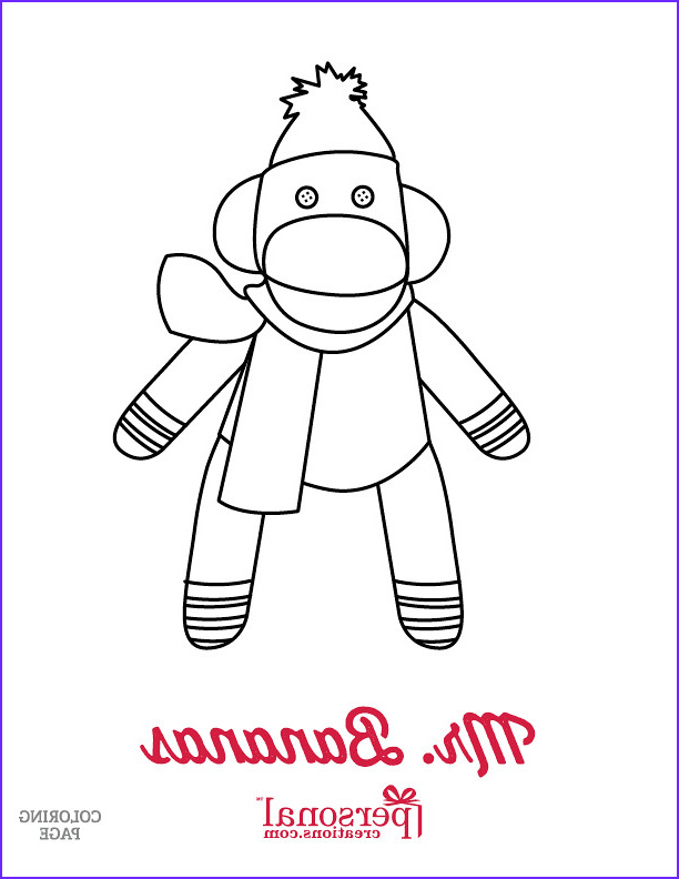 Sock Monkey Coloring Pages Elegant Photography Christmas sock Monkey Coloring Page