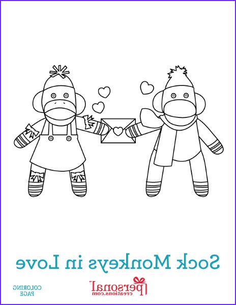 sock monkey valentines day coloring