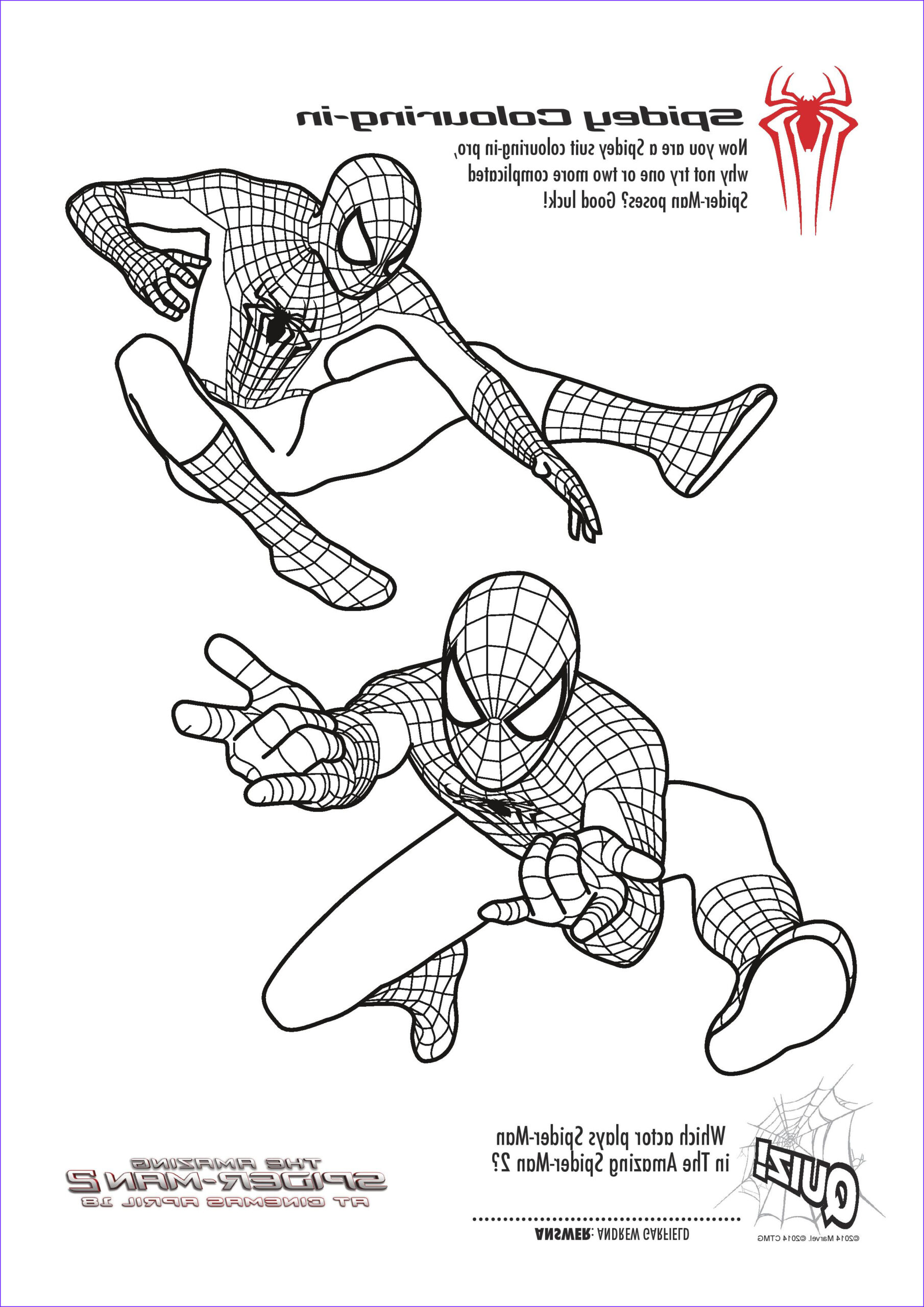 spiderman colouring pages