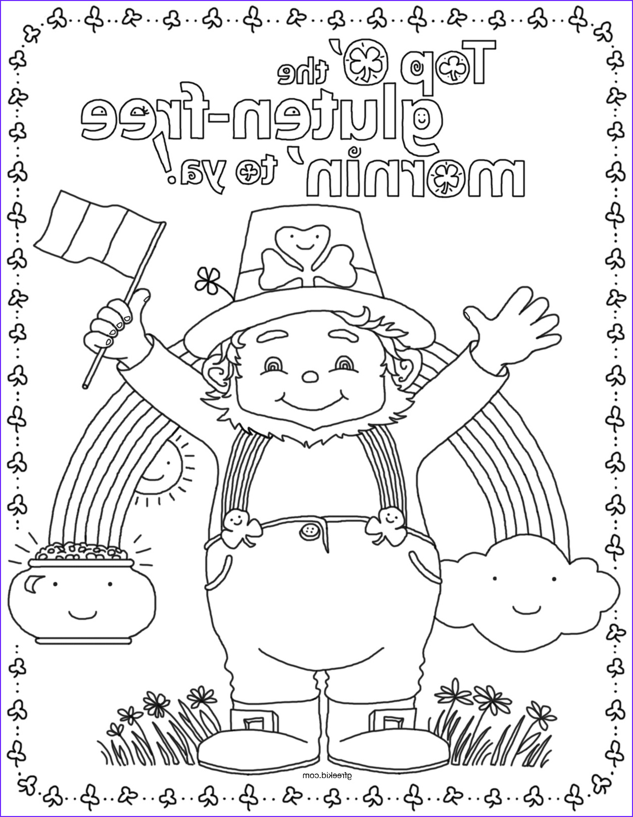simple st patricks day ideas and coloring page for gluten free kids