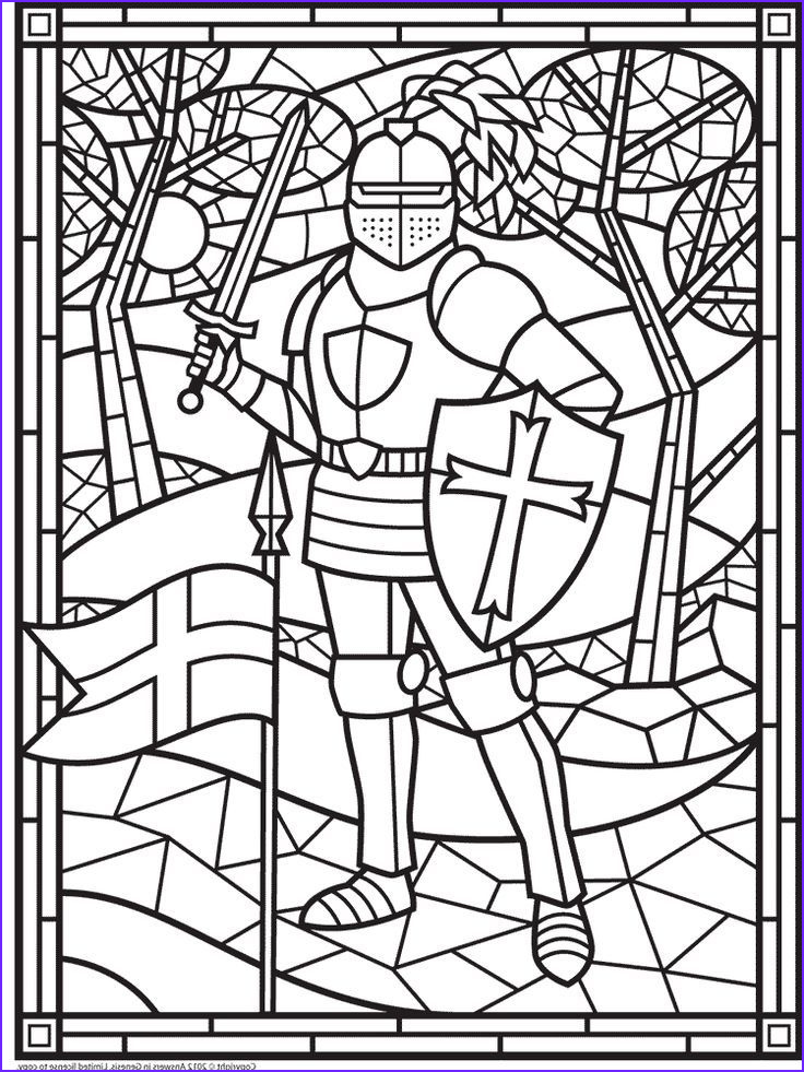 Stained Glass Window Coloring Pages Unique Collection Free Stained Glass Knight Make This A Cover for the Book