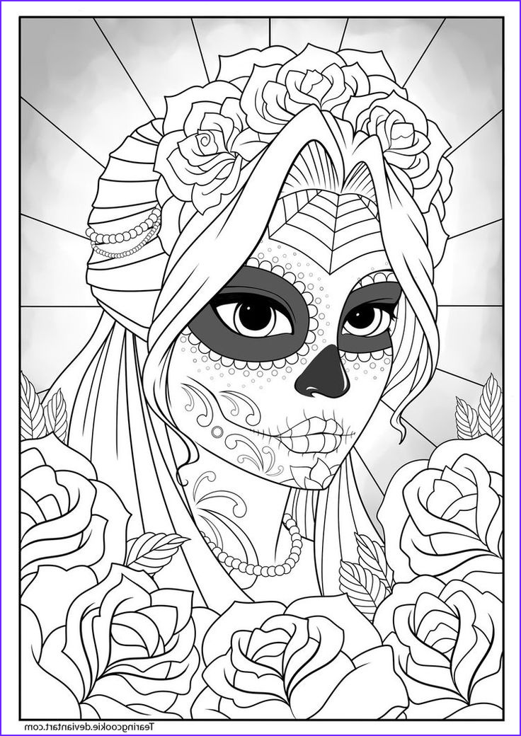 Sugar Skull Coloring Book Best Of Photos Sugar Skull Girl Colouring Page by Tearingcookie On