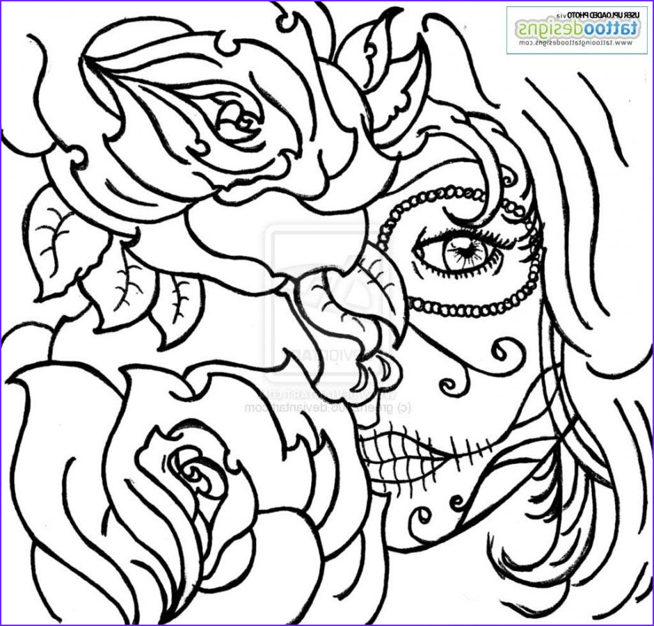 Sugar Skull Coloring Book Elegant Photography Sugar Skull Rose Tattoo Coloring Pages