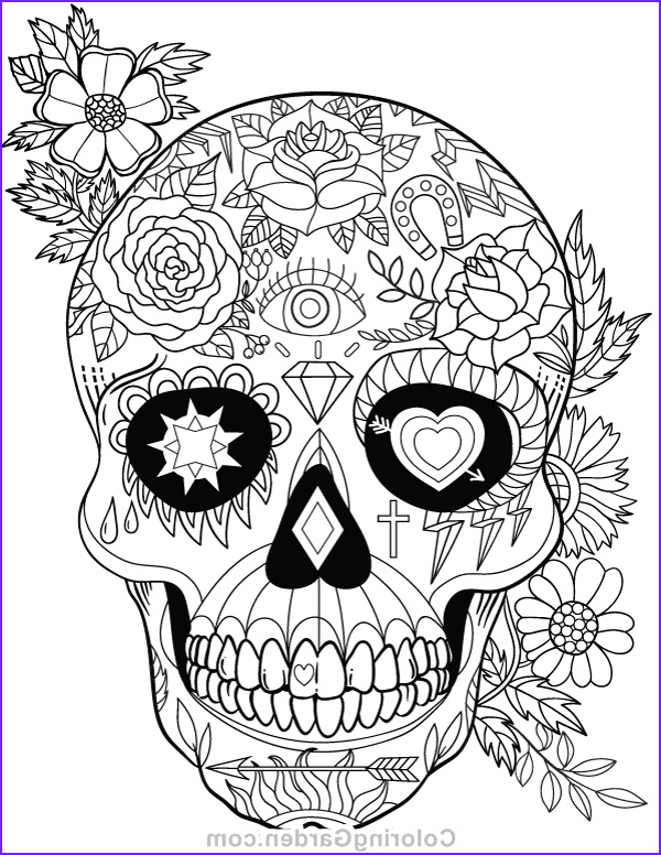 Sugar Skull Coloring Book Inspirational Image Sugar Skull Adult Coloring Page