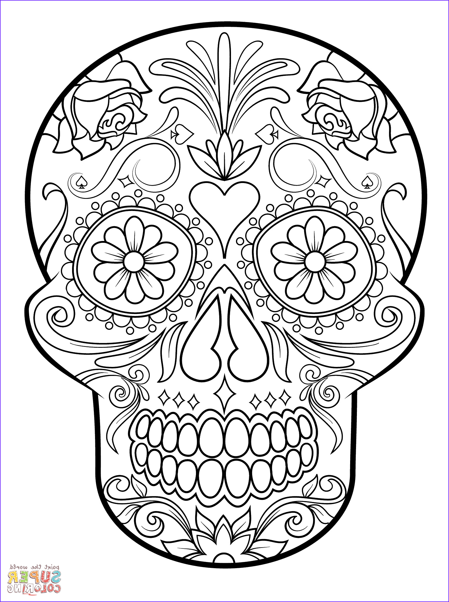 Sugar Skull Coloring Book Unique Images Sugar Skull Super Coloring Crafts