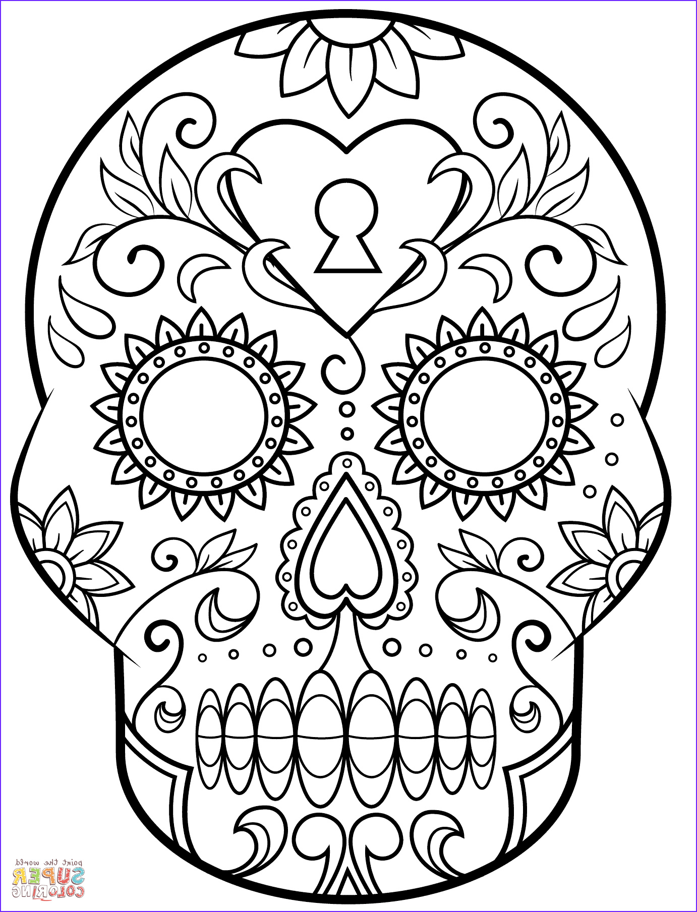Sugar Skull Coloring Pages Awesome Collection Day Of the Dead Sugar Skull Coloring Page