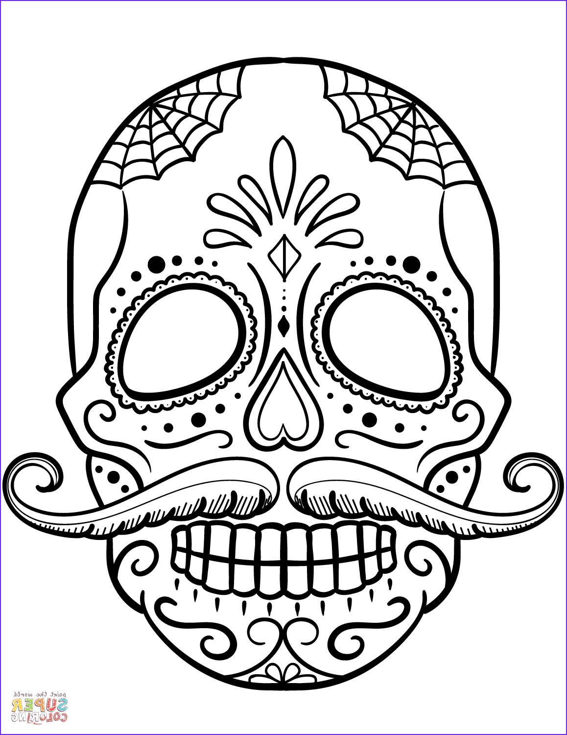 Sugar Skull Coloring Pages Awesome Images Sugar Skull with Mustache Coloring Page