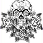 Sugar Skull Coloring Pages Awesome Photos Dropbox Coloring Tatouage Skull Skeleton