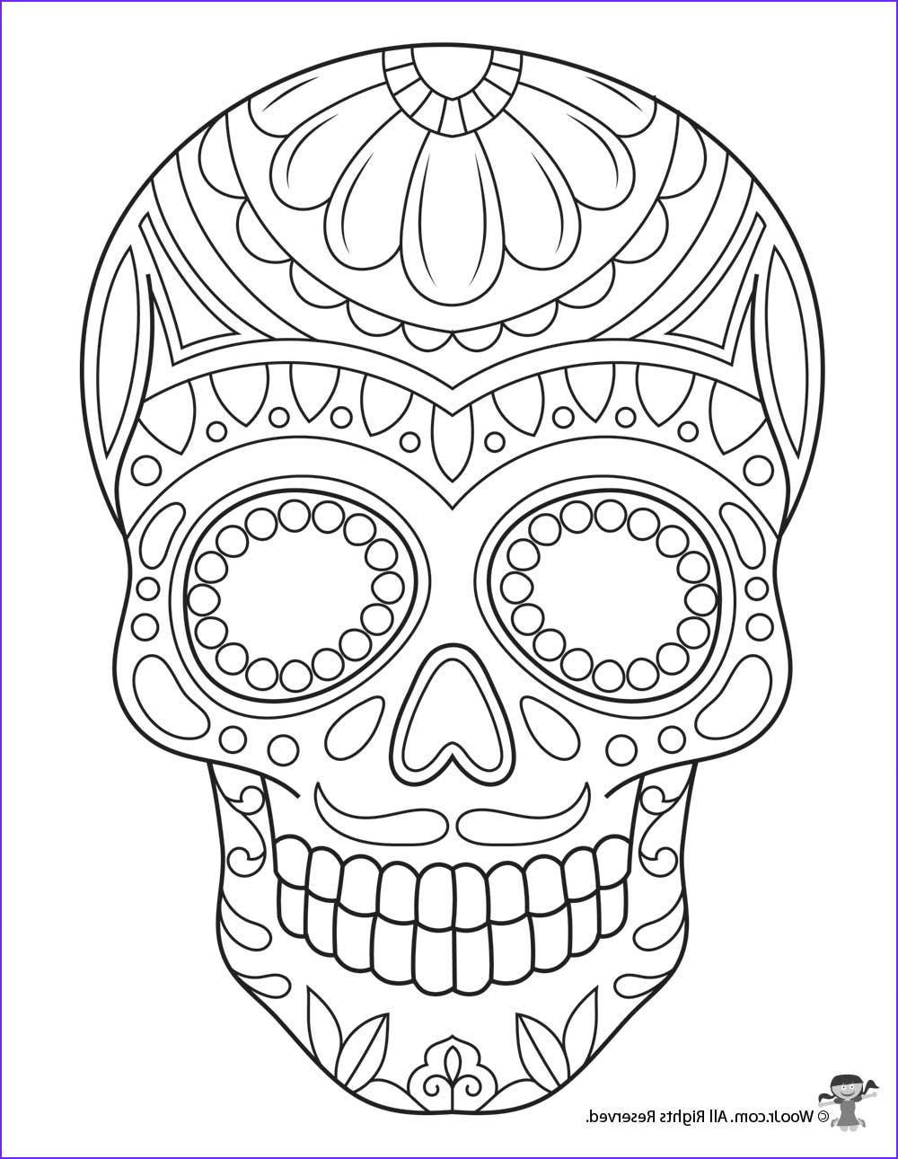 Sugar Skull Coloring Pages Elegant Collection Sugar Skull Coloring Page