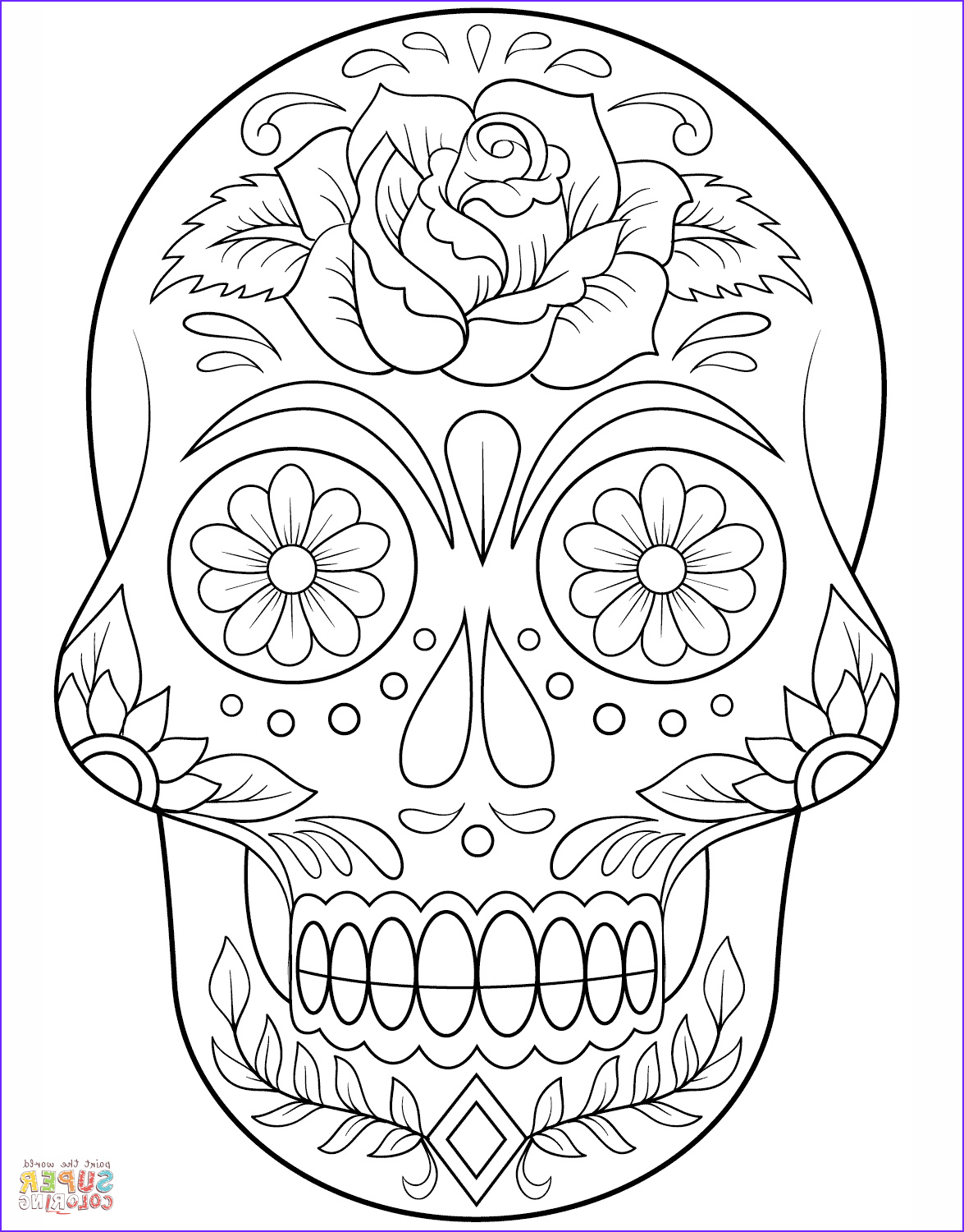 Sugar Skull Coloring Pages Unique Photos Sugar Skull with Flowers Super Coloring