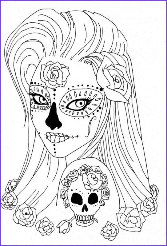 Sugar Skull Girl Coloring Pages Awesome Photos Sugar Skull Coloring Pages