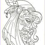 Sugar Skull Girl Coloring Pages Beautiful Collection Free Printable Day Of The Dead Coloring Pages Best