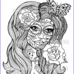 Sugar Skull Girl Coloring Pages Cool Photography Sugar Skull Day The Dead Girl Coloring Page Download