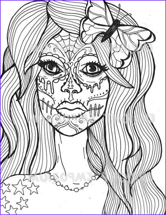 Sugar Skull Girl Coloring Pages Inspirational Photos Items Similar to Sugar Skull Girl Coloring Page Download