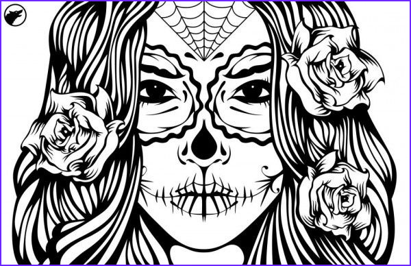Sugar Skull Girl Coloring Pages New Photography Sugar Skull Girl Illustration Coloring Page Ideas