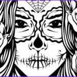 Sugar Skull Girl Coloring Pages Unique Images Sugar Skull Girl Illustration Coloring Page Ideas