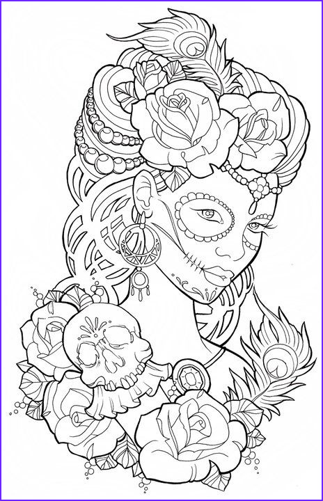 Sugar Skull Girl Coloring Pages Unique Stock Beautiful Sugar Skull Maiden Colouring Page