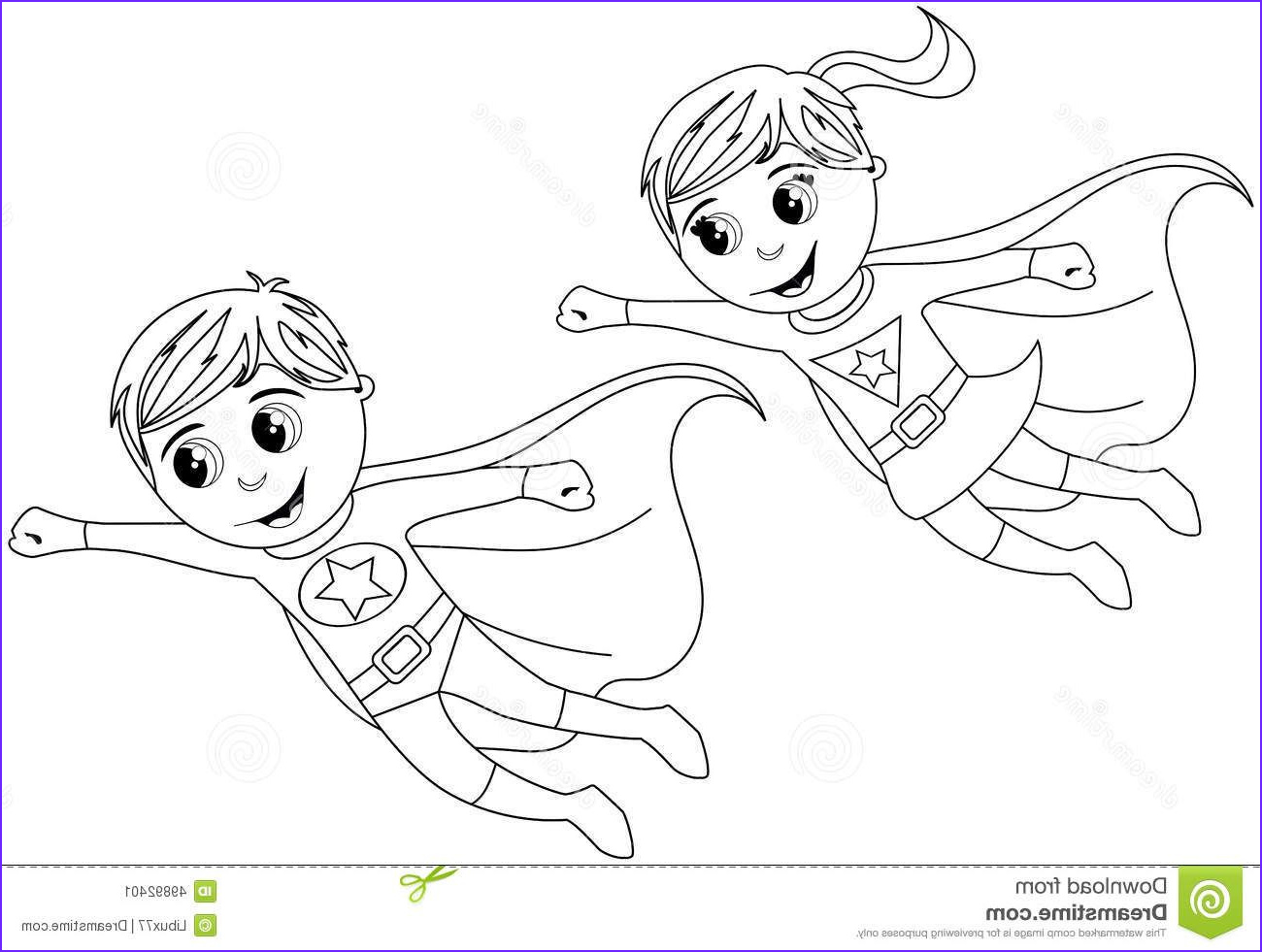 Superhero Coloring Pages Luxury Photography Happy Superhero Kid Kids Flying isolated Coloring Page