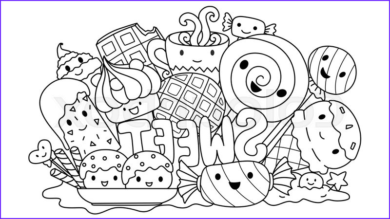 Sweets Coloring Pages Best Of Images Cute Sweets Monsters for Design Stock Vector
