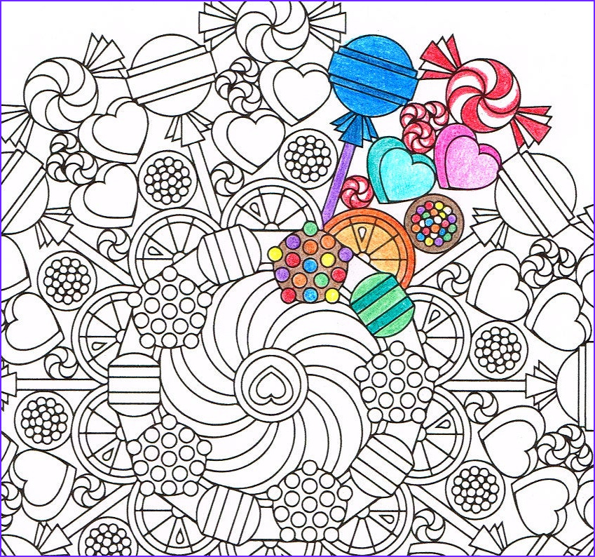 mandala coloring page round of sweets