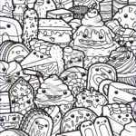 Sweets Coloring Pages Inspirational Photos Kawaii Sweets Doodle Adult Coloring Page Printable Digital