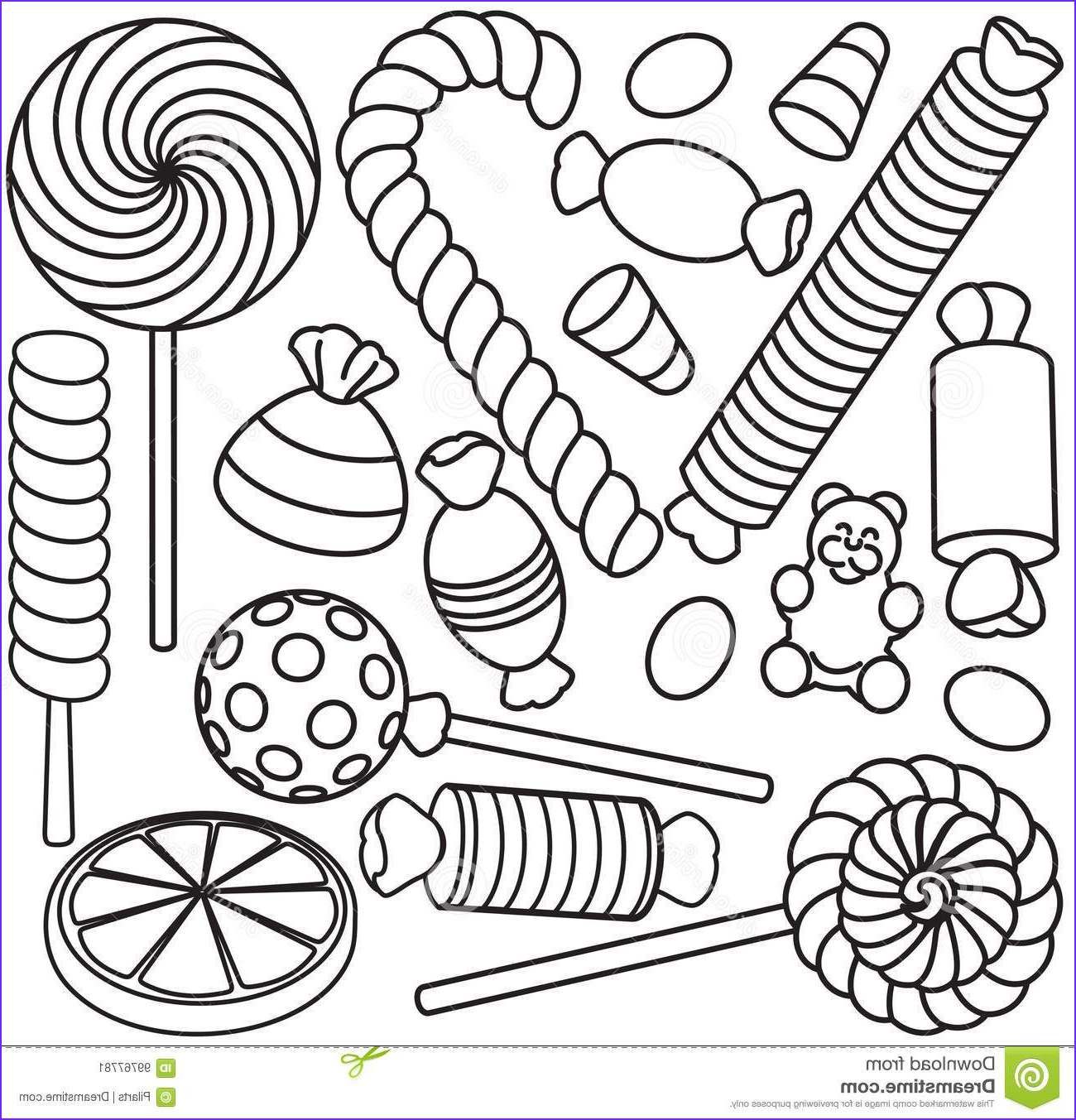 Sweets Coloring Pages Unique Stock Set Doodle Sketch Sweets and Candy Stock Vector