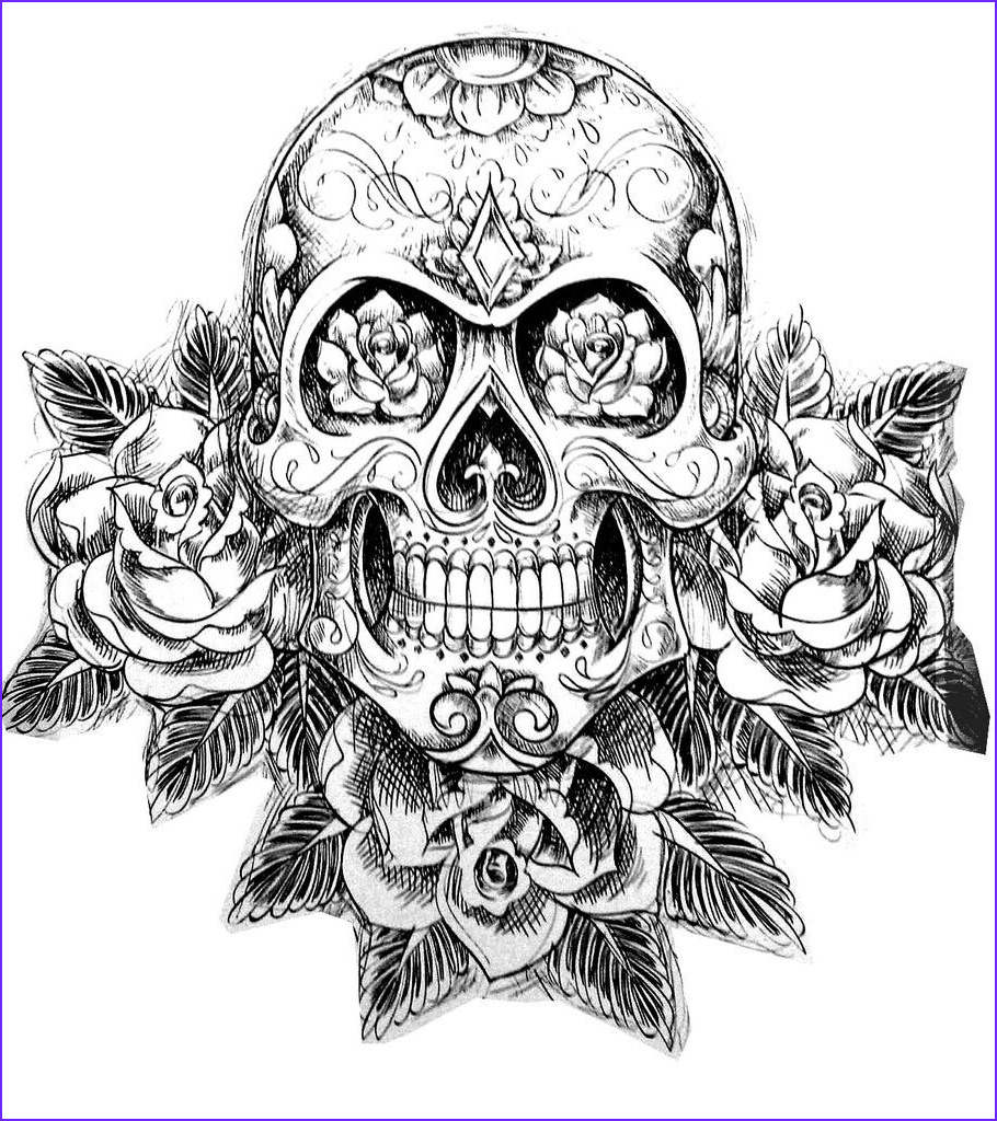Tattoo Coloring Pages Beautiful Collection Dropbox Coloring Tatouage Skull Skeleton