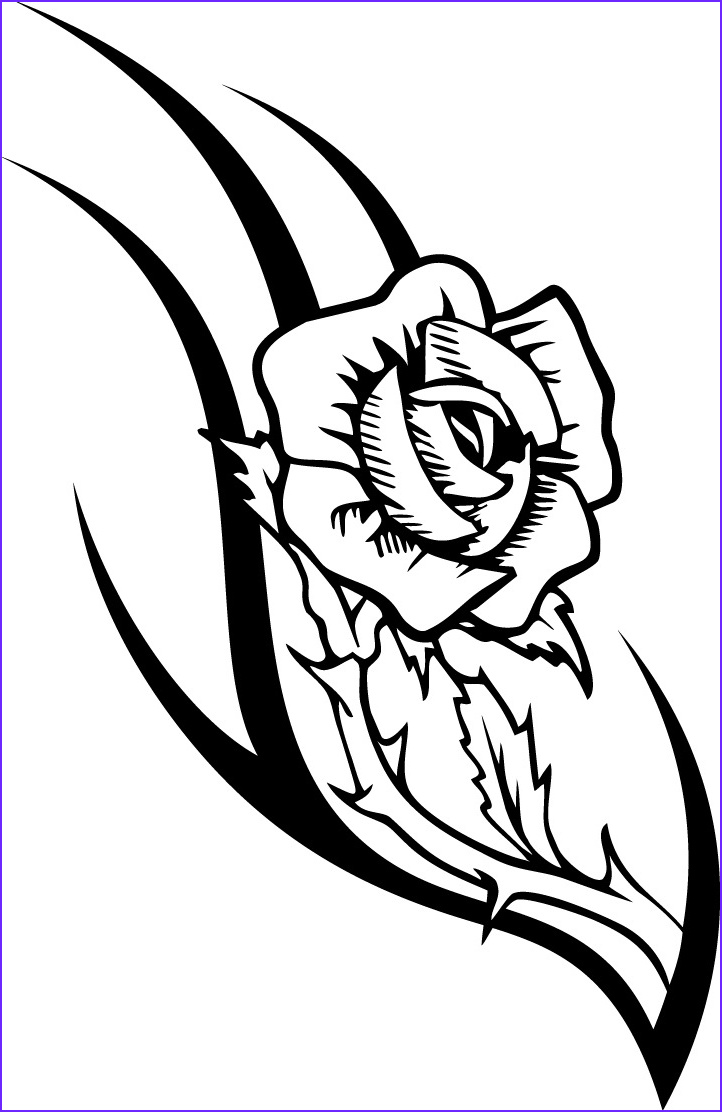 Tattoo Coloring Pages Elegant Stock Working Sheet Of A Rose Tattoo Design for Kidz