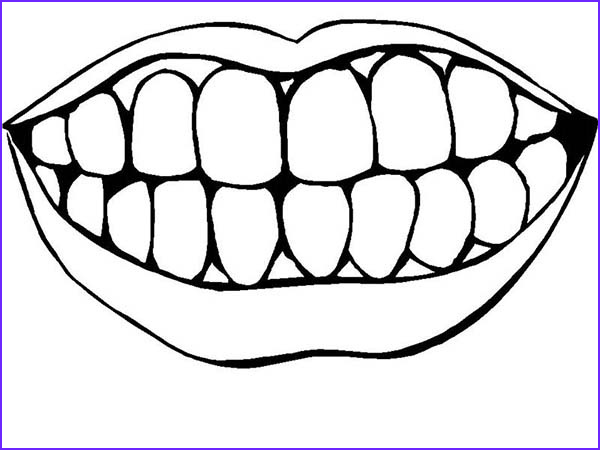 picture of healthty teeth in dental health coloring page