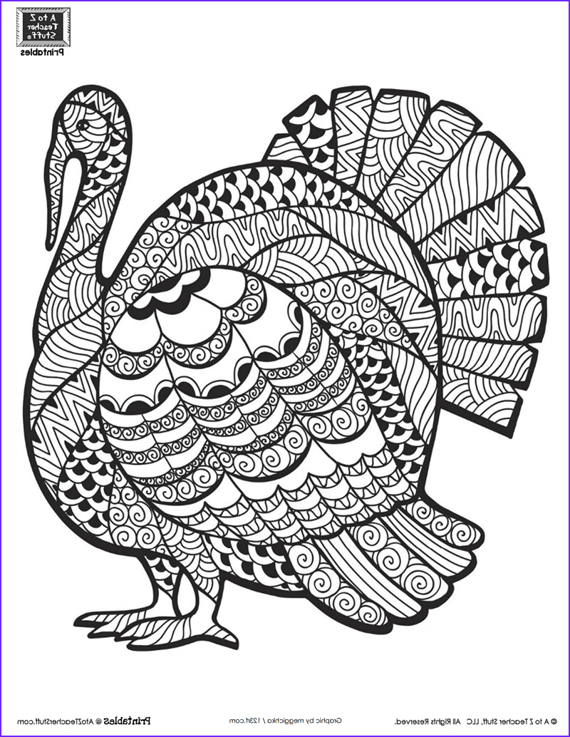 detailed turkey advanced coloring page