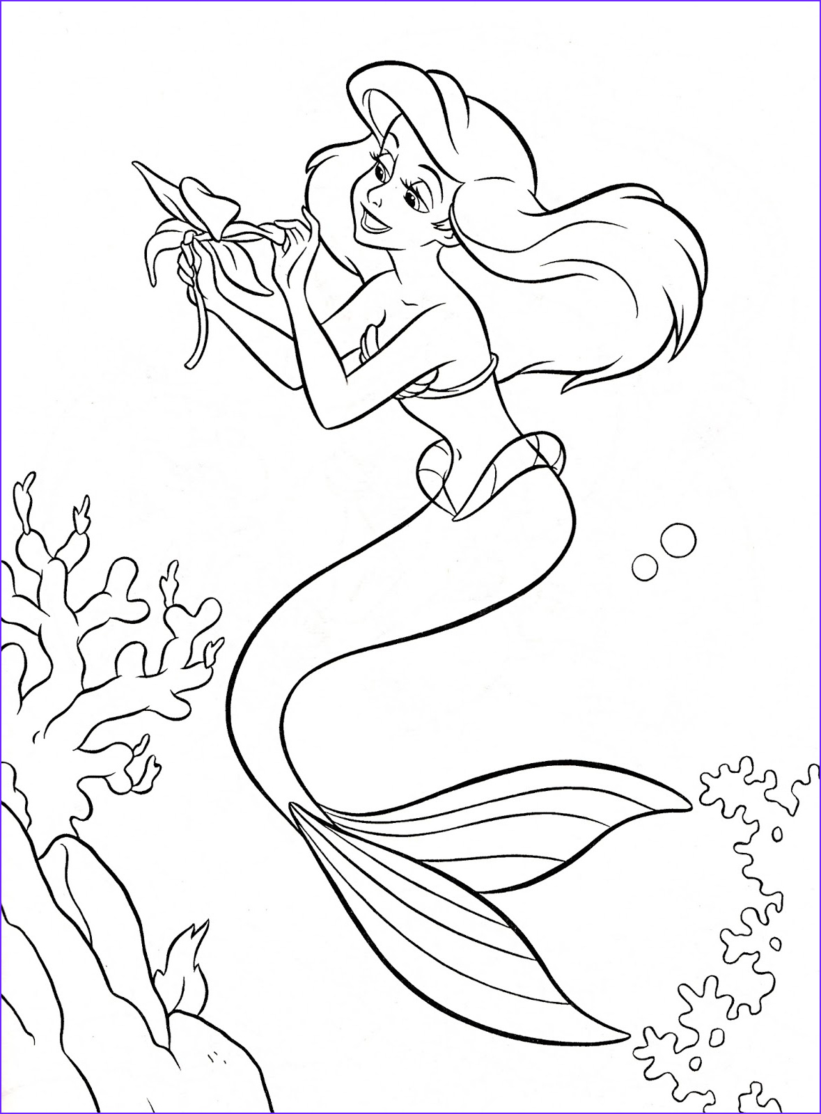 the little mermaid disney coloring page