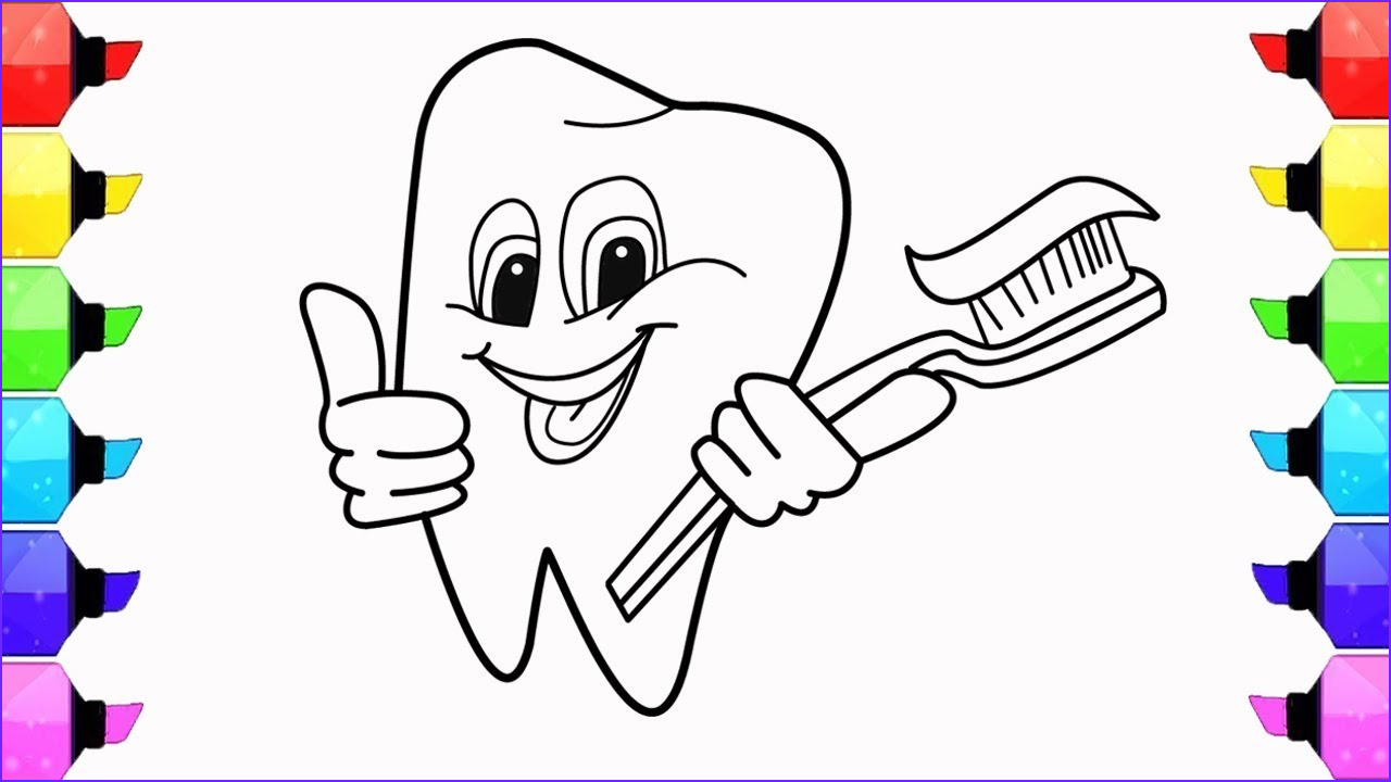 Tooth Coloring Awesome Gallery How to Draw Teeth toothpaste and toothbrush Coloring