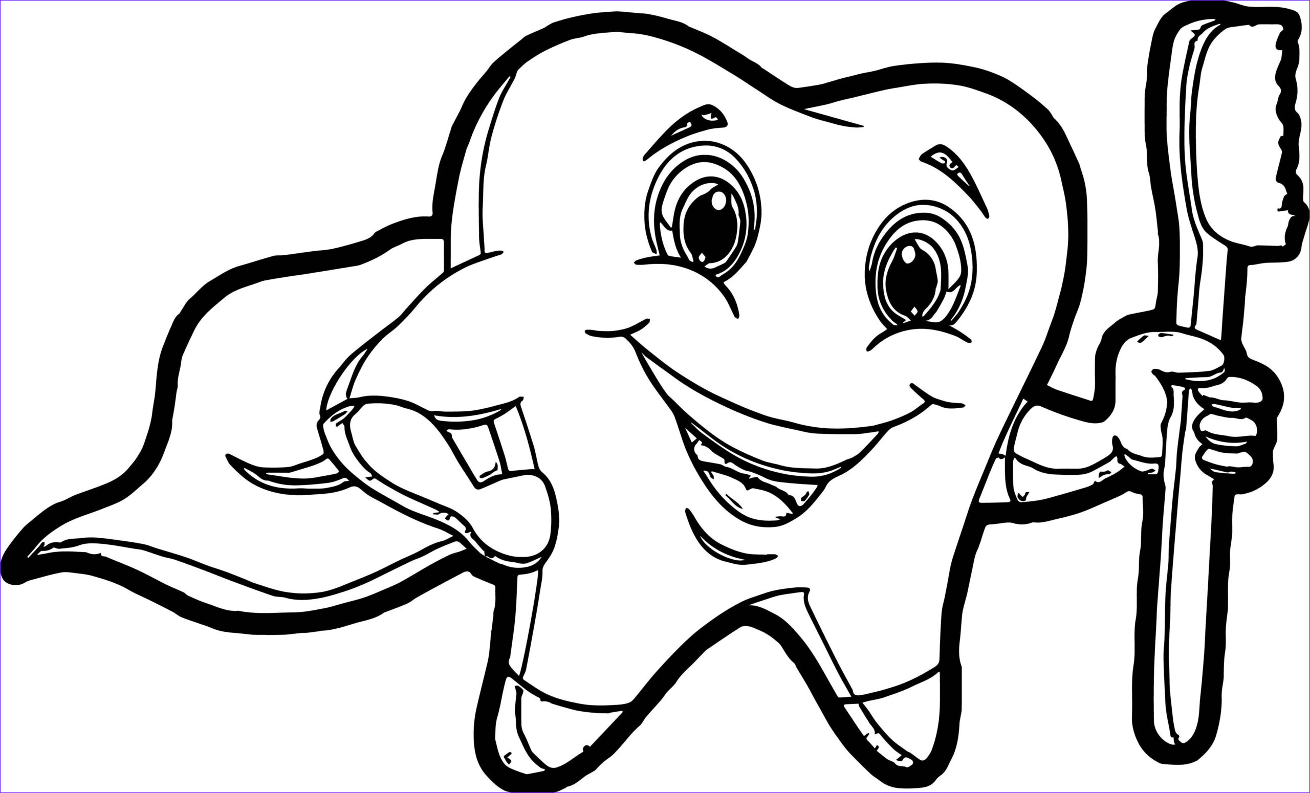 Tooth Coloring Awesome Images tooth Cartoon Teeth Coloring Page