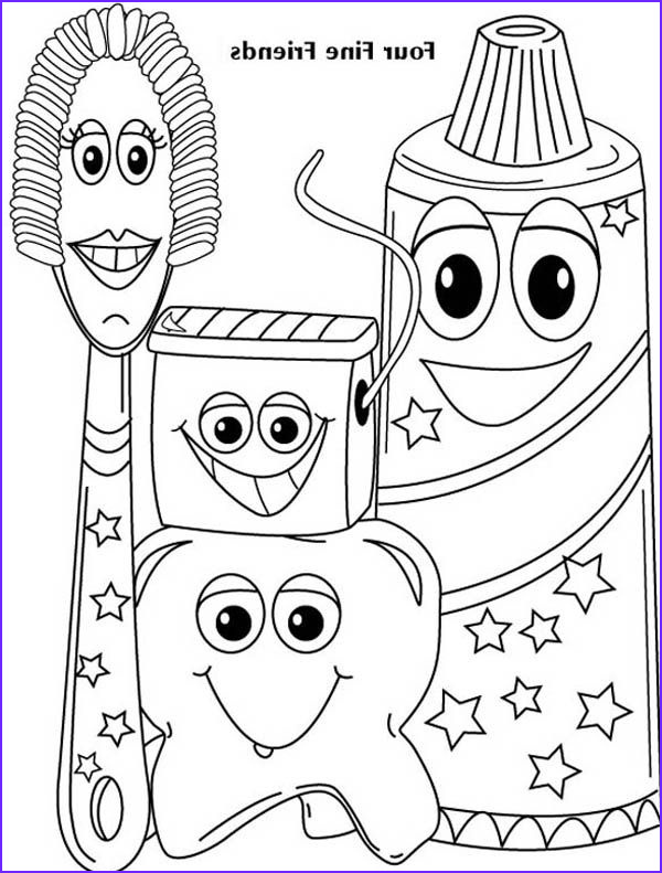Tooth Coloring Awesome Photos Four Fine Friends Of Dentist Coloring Pages