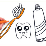 Toothpaste Coloring New Gallery Learn To Draw Cute Toothbrush And Toothpaste