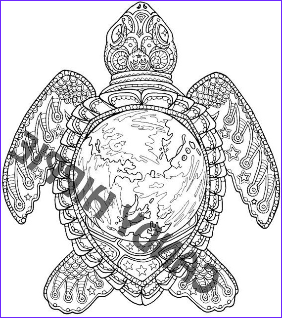 Turtle Coloring Books Elegant Collection Adult Coloring Page World Turtle Printable Coloring