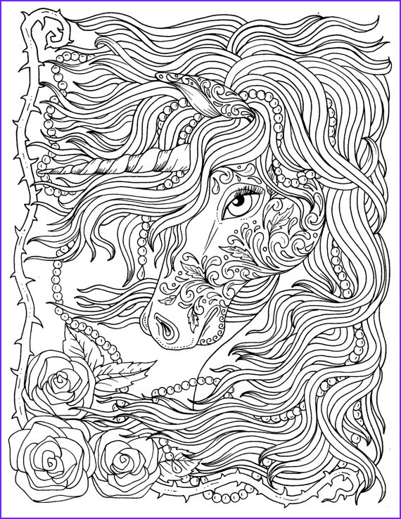 unicorn and pearls fantasy coloring page