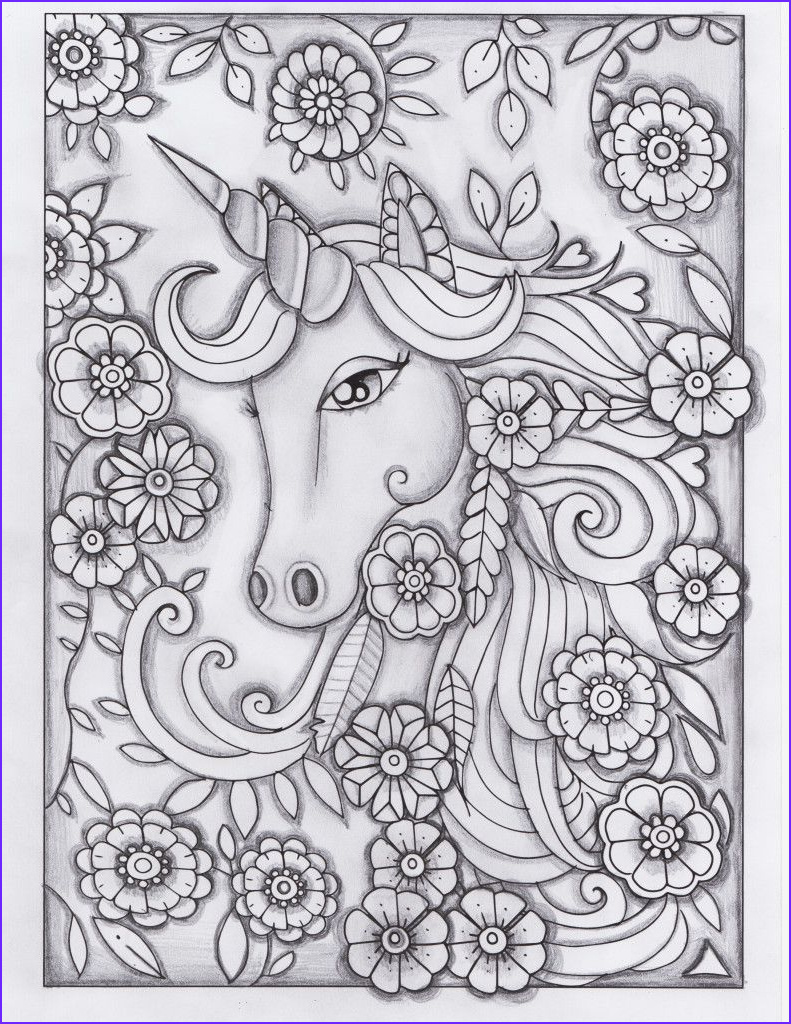 Unicorn Coloring Pages for Adults Elegant Stock Unicorn Greyscale Drawing Unedited