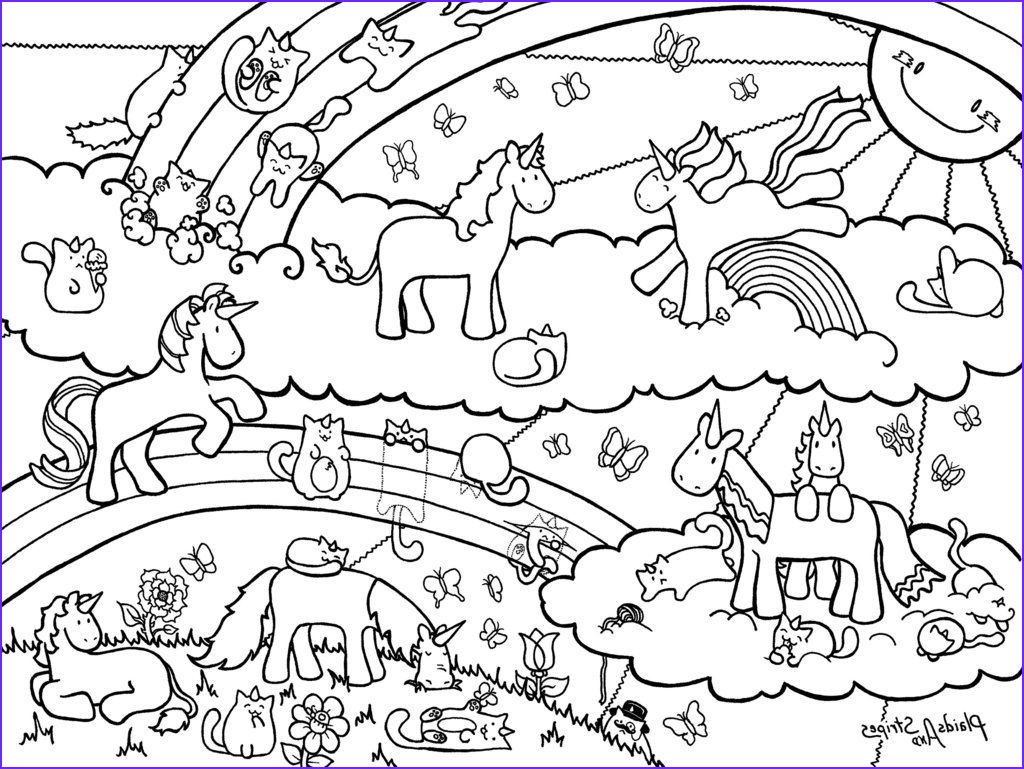 Unicorn Coloring Pages for Adults New Photos Unicorn and Caticorn Coloring Page by Plaidsandstripes